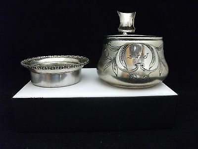 Antique Shaving Mug With Brush Rest NO.445  By FORBES SILVER CO. Fred