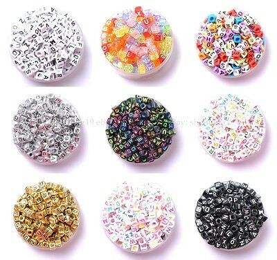 100Pcs Acrylic Mixed Alphabet Letter Coin Square Flat Spacer Beads DIY Pick