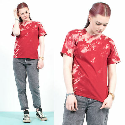 Womens Vintage 90's Red Tie Dye Oversize Loose Fit Crew Neck T-Shirt Top 8 10