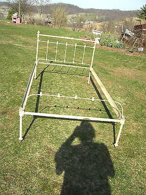 Antique Cast Iron Ends Steel Side Rails only for Bed  drop in tapered mount