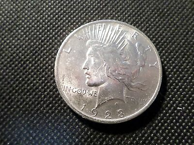 1923-P Peace 90% Silver Dollar, Almost Uncirculated Condition  Coin