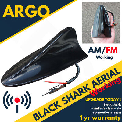 12v Black Shark Fin Aerial Aero Car Antenna Radio Gps Working Am Fm Mast Roof