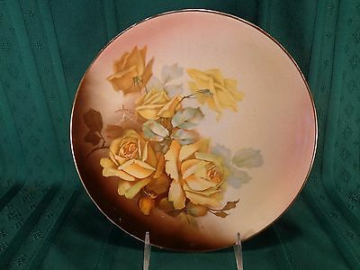 "Vintage 1908-1915 Taylor, Smith & Taylor Yellow Roses 9 1/2"" Plate Signed Guyeau"