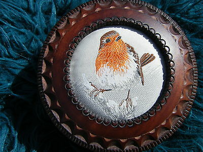 BEAUTIFUL CASH'S WOODEN TRINKET BOX - WITH WOVEN SILK PICTURE OF A ROBIN .