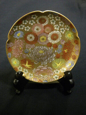 RARE 1000 FLOWERS SATSUMA ORIENTAL JAPAN FLEUR PLATE WITH WOODEN BASE