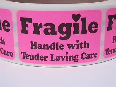 FRAGILE HANDLE WITH TENDER LOVING CARE 1.25x2 Stickers Labels fluor pink 500/rl
