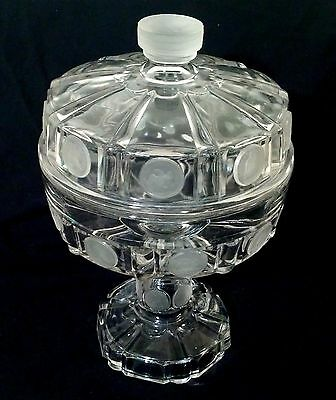 Wheeling U.S.Coin Glass Covered & Footed Compote, Central Glass Co. 1892