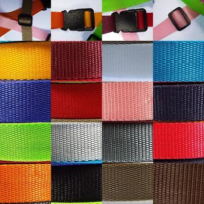 17 COLOUR Strong Thick Strap Webbing 25mm 30 40 & 50mm Nylon Bag Handle Belt