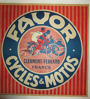 1930 Favor Motorcycle Advertising Poster by Jean Pruniere Printed in France