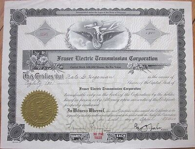 1929 Stock Certificate: 'Fraser Electric Transmission Corporation' - Car/Auto