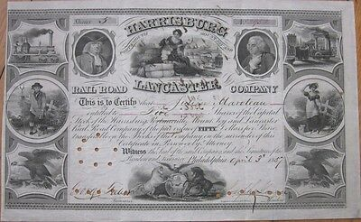 1857 Railroad Stock Certificate - Harrisburg Portsmouth Mount Joy & Lancaster RR