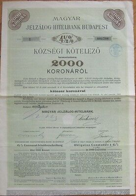 Large 1909 Bank Stock/Bond Certificate - Budapest, Hungary - 2000 Korona