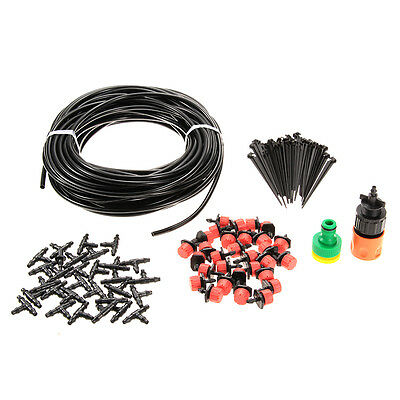 25m DIY Plant Garden Irrigation Water Micro Self Watering 30 Dripper Hose Kits