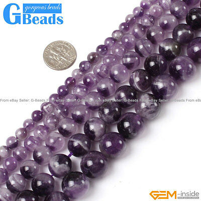 "Natural Purple Dream Lace Amethyst Round Beads Free Shipping Strand 15"" 6-16mm"