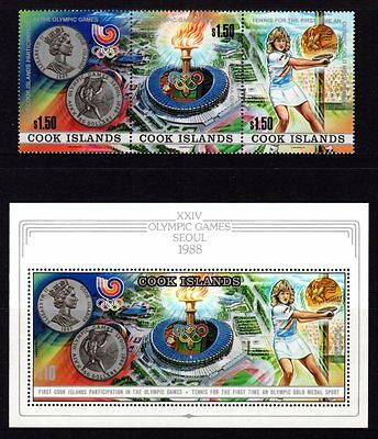Cook Islands 1988 Seoul Olympics Strip 3 + M/S MNH