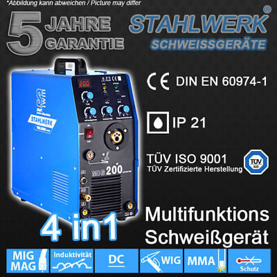Welding machine STAHLWERK MIG MAG 200 w. TIG MMA - SHIELDING GAS Welder Inverter