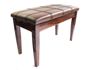 Dolce Polished Walnut Finish Piano Stool with Book Storage