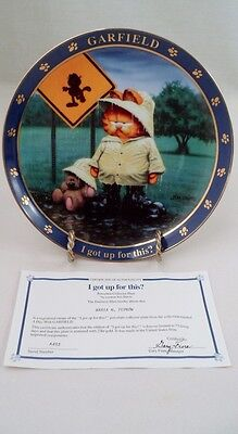 Danbury Mint Collector Plate & COA Garfield & Pooky I Got Up For This Rainy Day