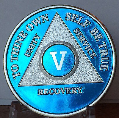 Blue Silver Plated 5 Year AA Chip Alcoholics Anonymous Medallion Coin Five