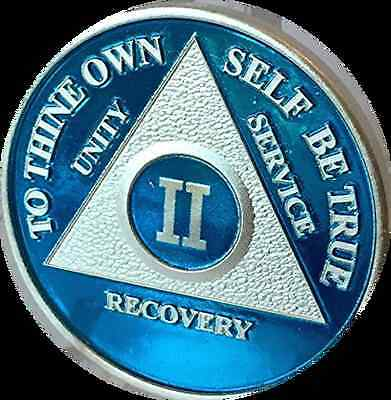 Blue Silver Plated 2 Year AA Chip Alcoholics Anonymous Medallion Coin Two