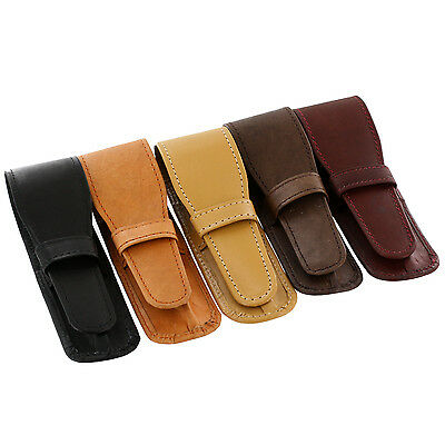 """""""Genuine Leather Single Leather Pen Case Pouches Assorted, 10/Pack"""""""