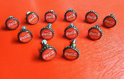 """LOT OF 12 """"DRINK COCA-COLA/COKE"""" RED CAP PULL KNOBS FOR DOORS/CABINETS!"""