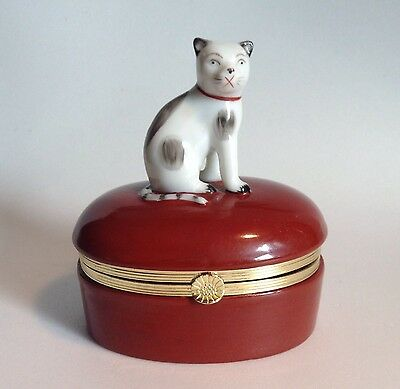 Fitz & Floyd Hinged Porcelain Trinket Box 1985 Black White Spotted Cat Large 4""