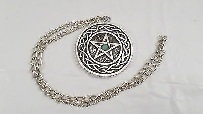 Vintage Silver Pentagram Necklace with Stone in Center