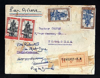 3123-SOUDAN FRANÇAIS-AOF-AIRMAIL REGIS.COVER BAMAKO to TOULOUSE(france)1941.WWII