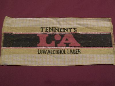 TENNENT'S LA LOW ALCOHOL LAGER SCOTLAND VINTAGE BEER BAR TOWEL MAT-RARE