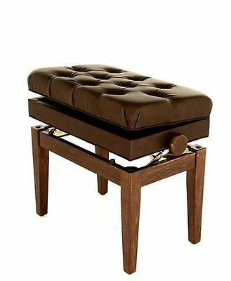 Symphony Polished Walnut Adjustable Cushion Seat Piano Bench with Storage