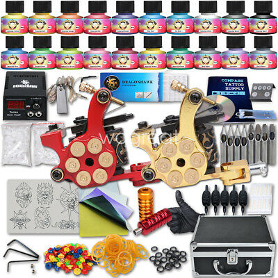 Tätowierung Komplett Tattoo Kit Set 2 Tattoomaschine DE color inks HW-9GD-12CE