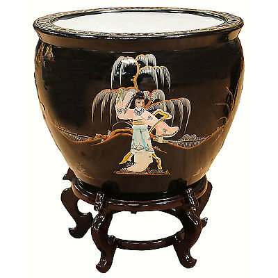 Black With Mother Of Pearl Oriental Fish Bowl & Stand