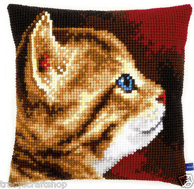 Kitten Chunky Cross Stitch Cushion Front kit 40x40cm By Vervaco