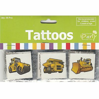 Construction Truck Party Supplies Favours Temporary Tattoos (Pack Of 36)