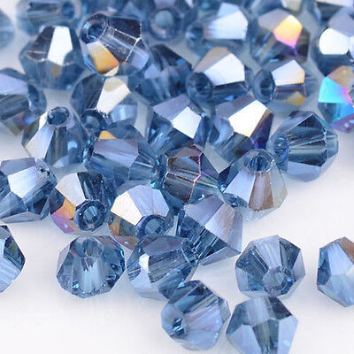 100/500/1000pcs ink blue AB Glass Crystal 4mm #5301 Bicone Beads loose beads