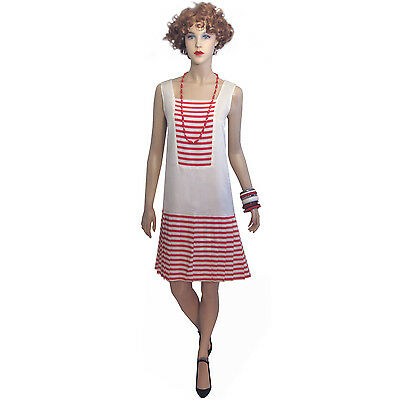 Vintage 20s 30s Candy Cane Casual Flapper Dress M L Party Art Deco Full Skirt NY