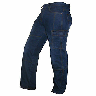 Mens Motorbike Motorcycle Blue 14oz Cargo Trousers Jeans With Protective Lining