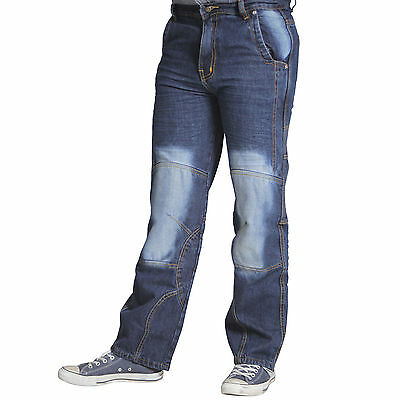 Men's Motorcycle Trousers Motorbike Jeans Denim Blue 14oz With Protective Lining