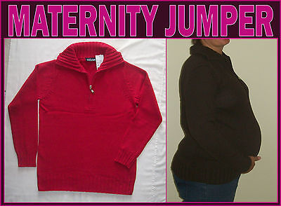 NINTH MOON MATERNITY JUMPER Front Zip Neck WARM & SOFT Red Grey or Black - NEW