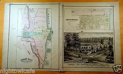 Rare 1876 Map SHADY SIDE Coytesville NJ New Jersey ORIGINAL Traphagen Hunter &Co