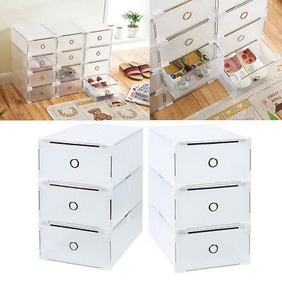 3/6 x Stackable Clear Plastic Shoe Storage Boxes Home Office Organiser Foldable