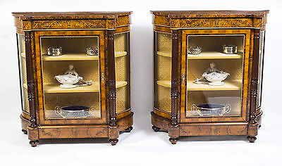 Pair of Burr Walnut Display Cabinets Victorian Style