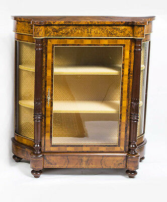 Victorian Style Burr Walnut Inlaid Display Cabinet