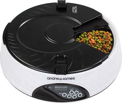 Andrew James 6 Day / Meal Automatic Pet Feeder Dog / Cat Bowl - Granite Grey