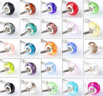 20pcs exquisite crystal facets spacer beads fit Charm European Bracelet optional