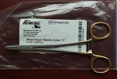"Integra MILTEX Mayo-Hegar Needle Holder 6"" Serrated Jaws T.C. Jaw #N407322 NEW"