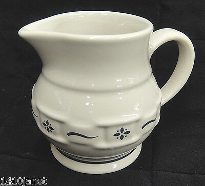 Longaberger 8 oz Creamer Pitcher  Woven Traditions Classic Blue Excellent