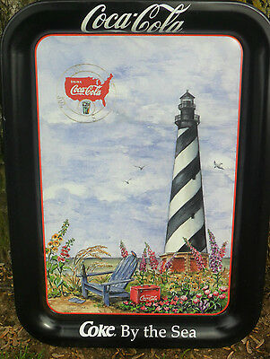 1998 Coca Cola Metal Serving Tray COKE BY THE SEA  Hatteras Lighthouse