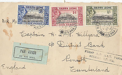 Stamp 1938 Sierra Leone first flight cover to England with label at left, nice